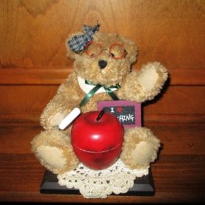 Teacher Bear with Wood Base & Apple Trinket Box